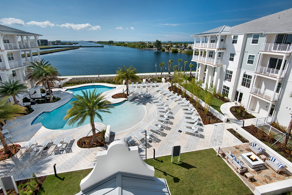 pool deck and lake aerial view