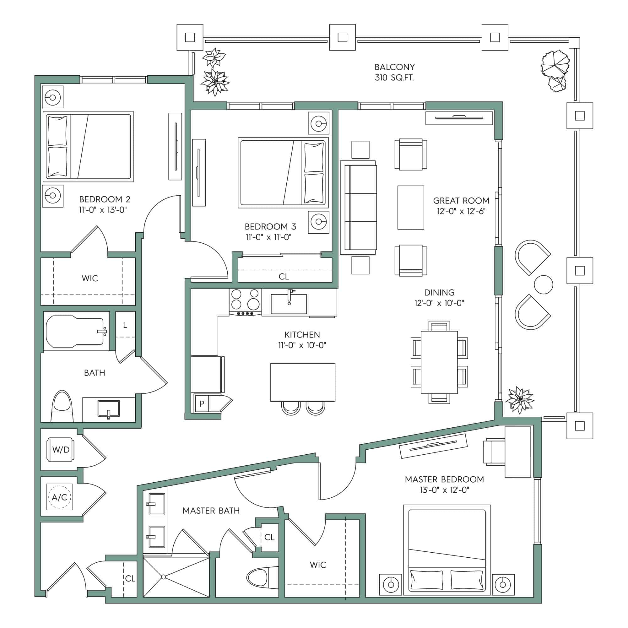 NAPLES: 3-bedroom Downtown Tampa apartment for rent