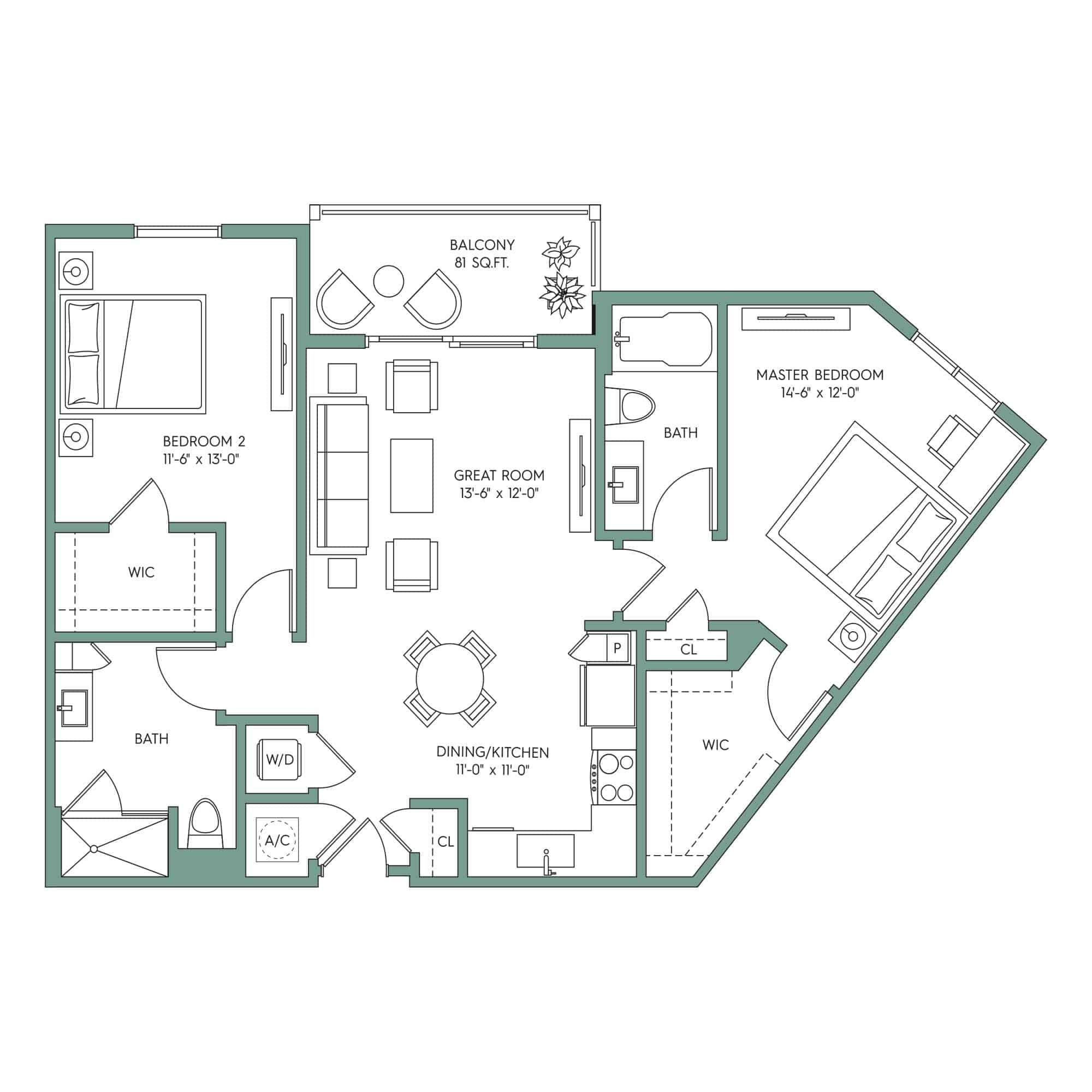 SANIBEL: 2-bedroom Downtown Tampa apartment for rent